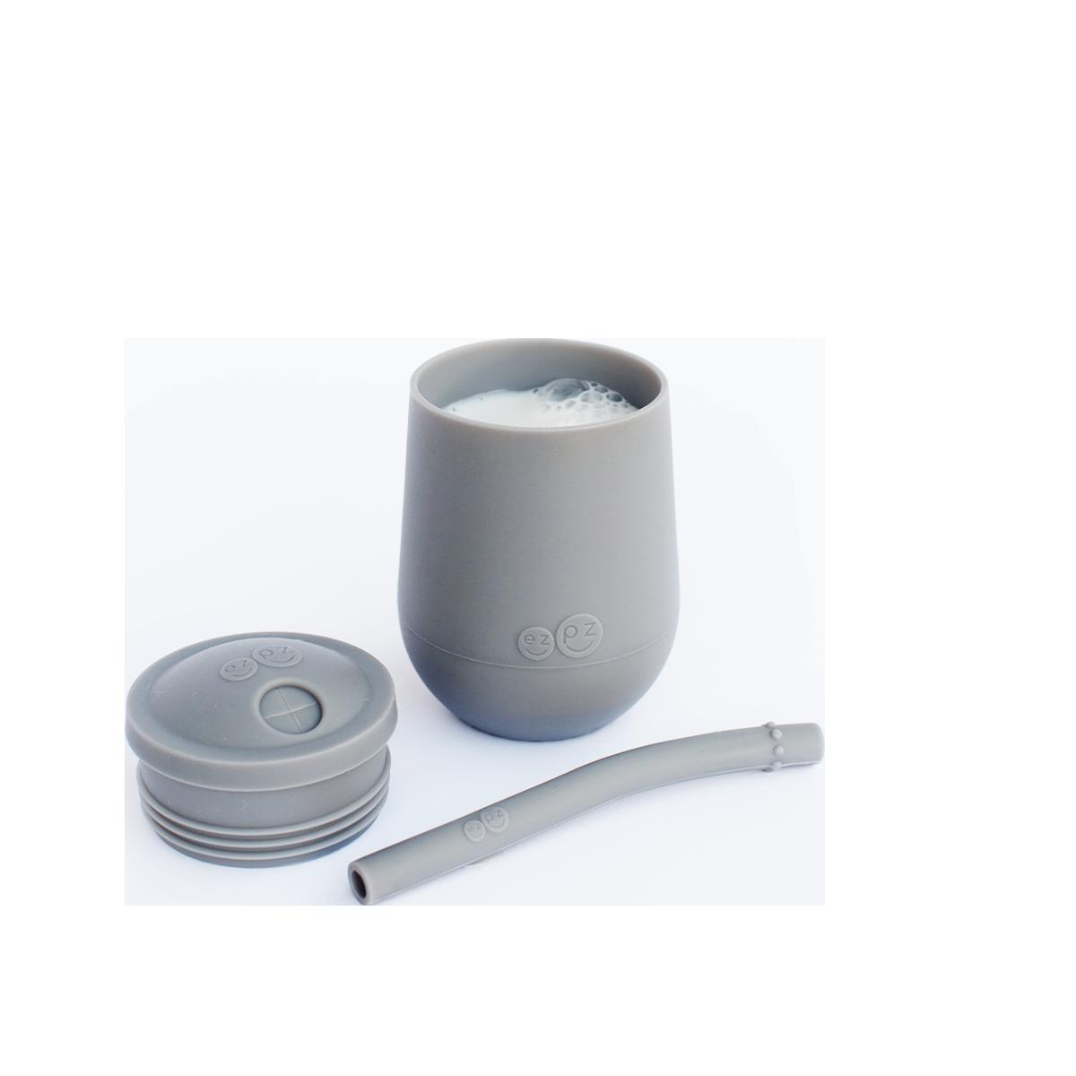 ezpz Mini cup avec paille et couvercle - Gris foncé